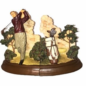 Vintage Play Golf Resin bookends w/decorative back
